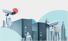 Illustrasjon av servere og sikkerhetskameraer