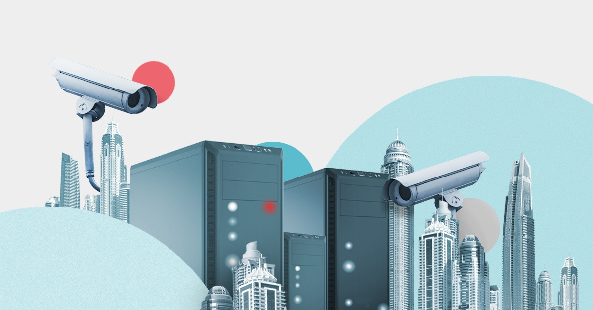 Illustration of some servers and security cameras