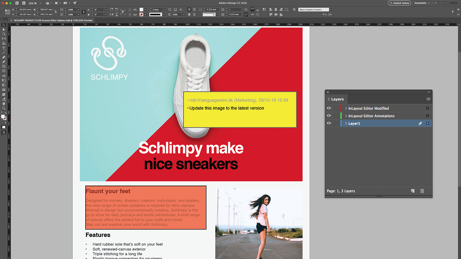 InDesign-Ansicht InLayout Editor