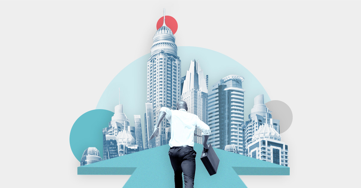 Collage illustration with a businessman running on top of an arrow heading to a city with tall buildings