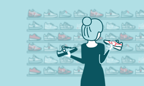 Illustration of a lady choosing shoes in a shop