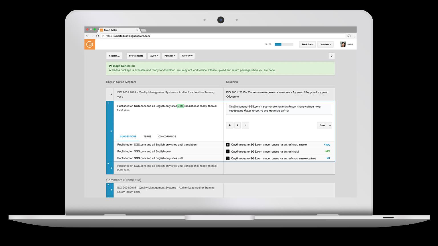 Der Smart Editor verbessert die Übersichtlichkeit, damit sich Sprachexperten auf den Inhalt konzentrieren können.