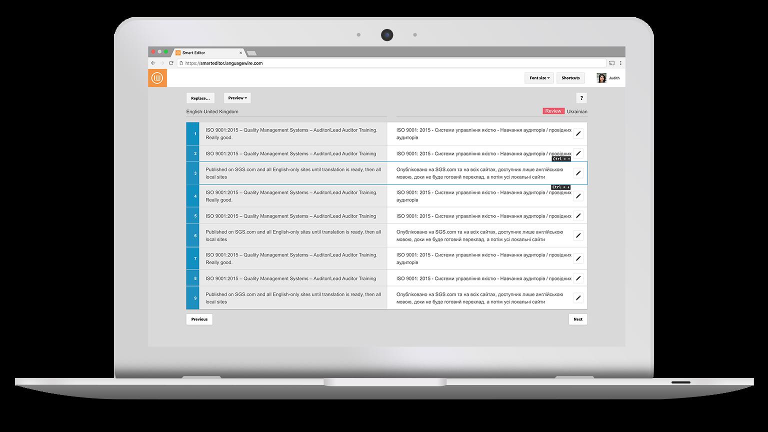 Validerare kan enkelt granska översättningar i ett webbaserat verktyg.
