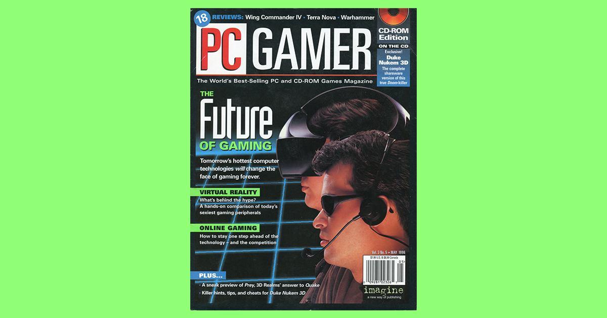 Omslagsbilde på PC Gamer fra mai 1996