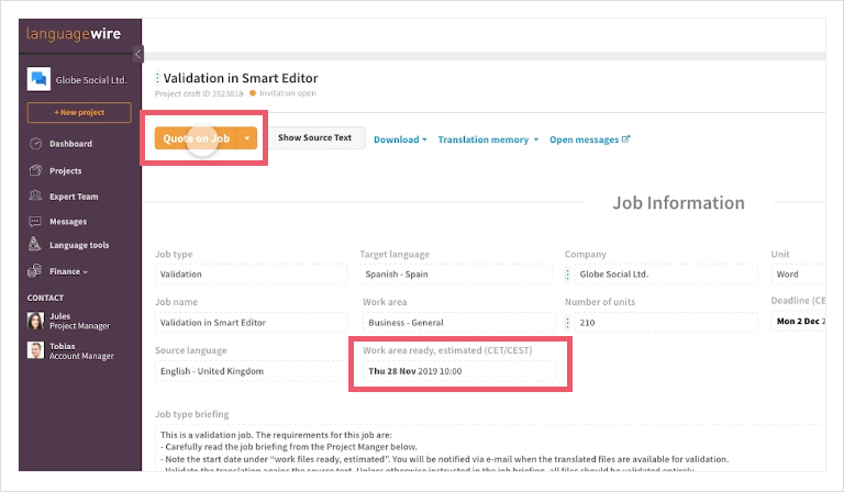 Screenshot of the validation page job with all the details inside the LanguageWire Content Platform.