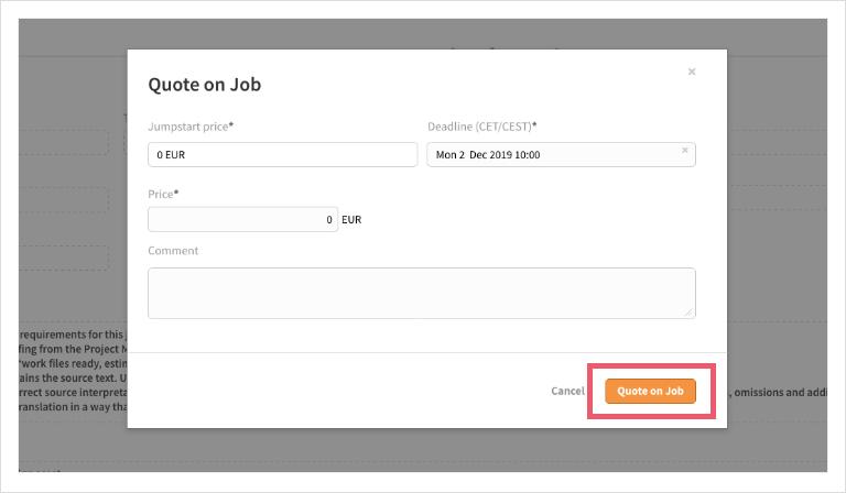 Screenshot of  LanguageWire Content Platform confirmation dialog