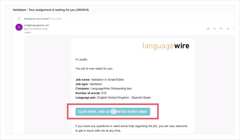 Screenshot of an email notification
