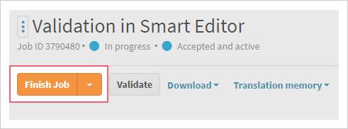Finish job button on LanguageWire Content Platform
