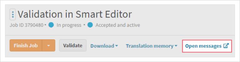 Open Messages button on LanguageWire Content Platform