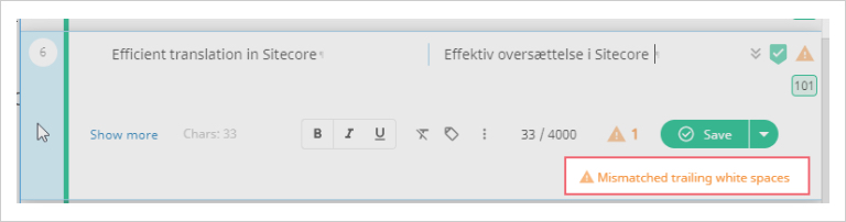 Image showing the built-in QA checker alerts on Smart Editor