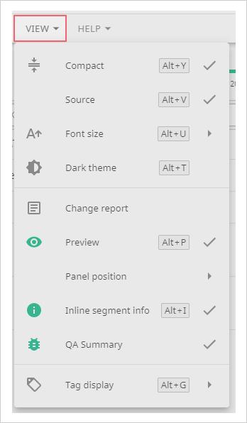 Screenshot of the View panel menu Smart Editor