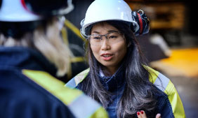 Asian woman with a helmet