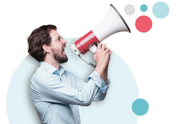 Man shouting in megafon