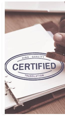 Picture of a document with a Certified Translation stamp