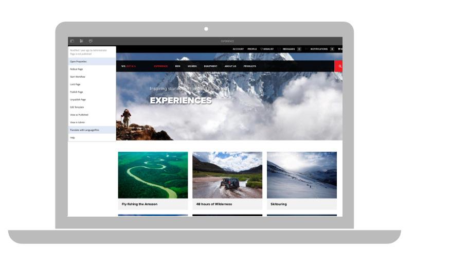 Välja sida i Adobe Experience Manager