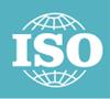 ISO badge, petroleum colored