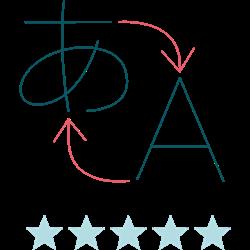 Illustration af et oversættelsesikon med en bedømmelse på fem stjerner