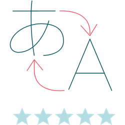 Illustration of a translation icon with a rating of five stars