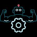 Symbol muskulöser Roboter