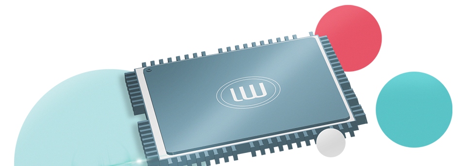 Illustration of a LanguageWire labeled computer chip