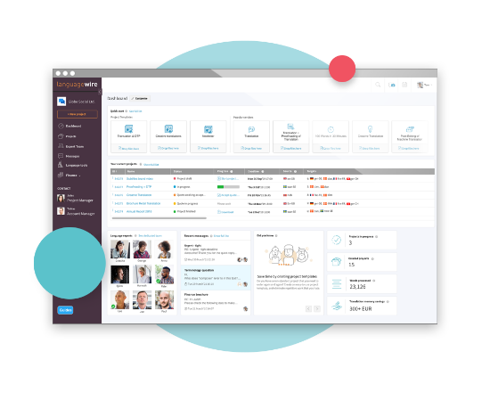 Couverture de la plateforme - Capture d'écran de la plateforme LanguageWire