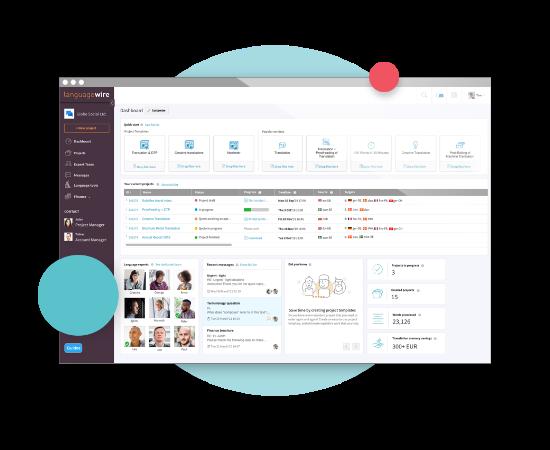 Plattformens startsida – skärmbild av LanguageWires plattform