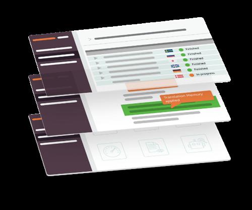 Isometric illustration of several screens of LanguageWire Content Platform