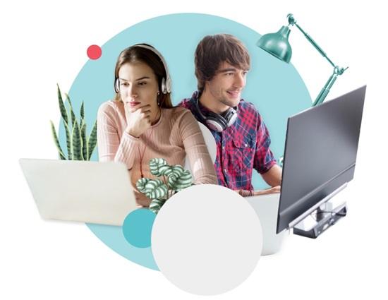Bilderkollage mit zwei Experten, die gemeinsam an ihrem Computer arbeiten