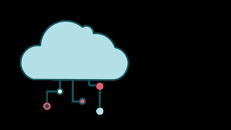 Illustrasjon av et nettverk i skyen