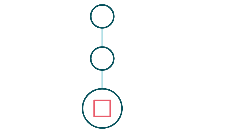 Icono de un diagrama de proceso de tres pasos